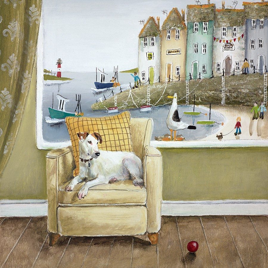 Sea Side Seat by Rebecca Lardner - Limited Edition on Paper sized 12x12 inches. Available from Whitewall Galleries